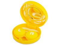 снимка - Кутийка за лещи с огледалце - жълта с орнаменти