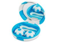 снимка - Кутийка за лещи с огледалце Football - синя