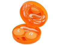 снимка - Кутийка за лещи с огледалце- оранжева с орнамент