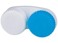 снимка - Синьо-бял контейнер за контактни лещи с маркировка L+R