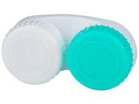 снимка - Зелено-бял контейнер за контактни лещи с маркировка